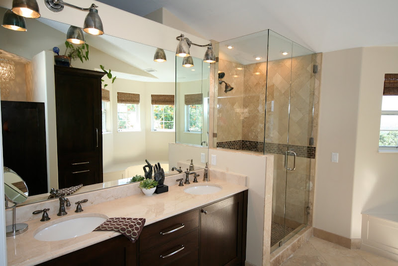 the simple marble countertops tie in with the travertine floor title=
