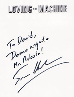 Inscription from Tim Hornyak to me. Got me paranoid, though: is 'Mr Roboto' supposed to mean him or me?!.