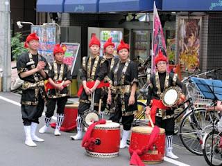Drumming troupe at Yoyogi-hachiman street festival, Tokyo.
