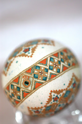 Brown Chicken Egg Pysanky Etched and Dyed Orange and Blue Traditional Star Pattern width=