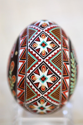 Red Ram Traditional Pysanky with Wolves Teeth Motif
