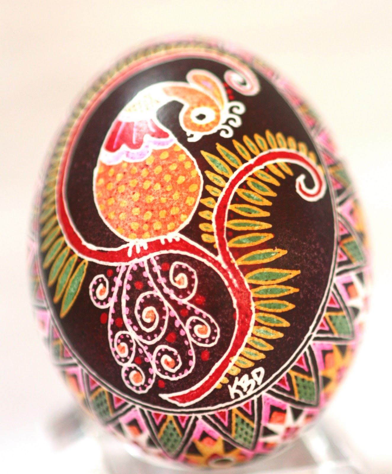 Ukrainian Egg in Brown featuring a Stylized bird on a tree