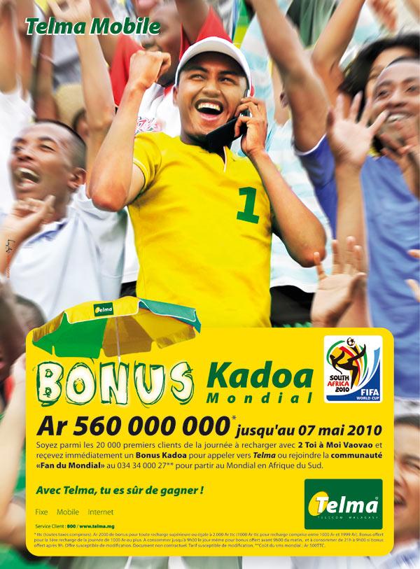 Telma Madagascar: Bonus Kadoa Ar 560 000 000 jusqu'au 07 mai 2010 !