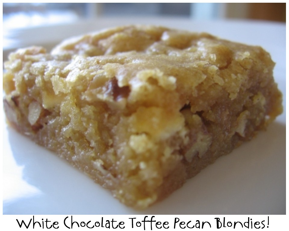 ... NOT Scared!: Mix Recipe #23: White Chocolate Toffee Pecan Blondies