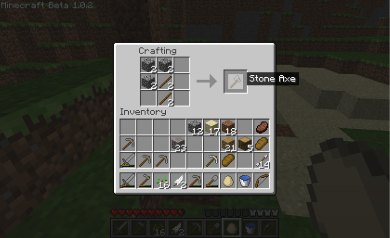 Първия ден в Minecraft 800px-Minecraft_Beta_1.0.2_crafting_a_stone_axe