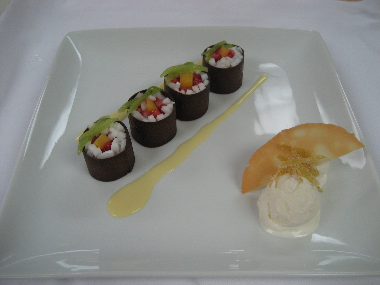 ... with Coconut, Mango and Strawberry, Creme Anglaise, Coconut Sorbet