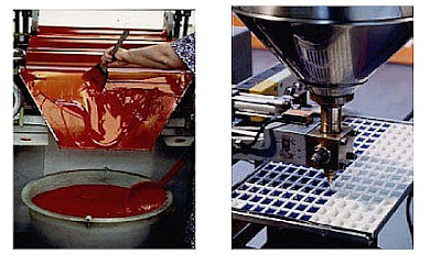 A pigment milling machine and a machine to pour watercolour paste in plastic or porcellain pans