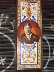 Oscar Wilde op tegelwand (jaren 20 20ste eeuw) die ik tegenkwam tijdens een wandeling door Madrid