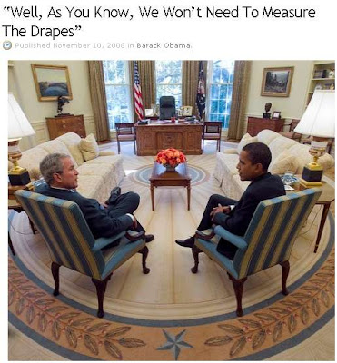 Obama and Bush in the Oval Office, caption by Oliver Willis
