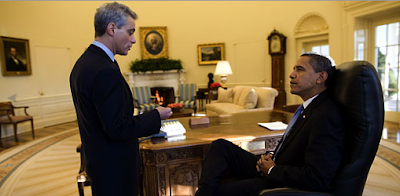 Obama and Emmanuel in Oval Office 21 Jan 2009