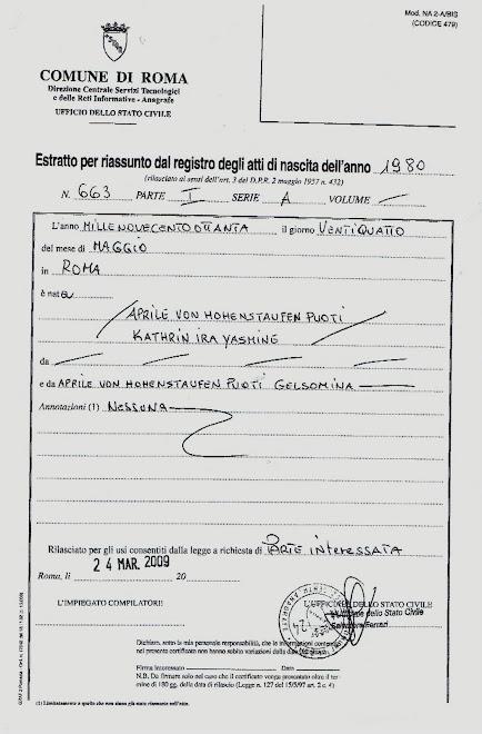 Vi sono tre Falsi Re di Svevia!Pubblichiamo perla trasparenza  il certificato veri Hohenstaufen!