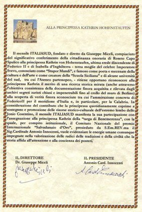 Charter  premio per gli studi sindonici della principessa  Hohenstaufen