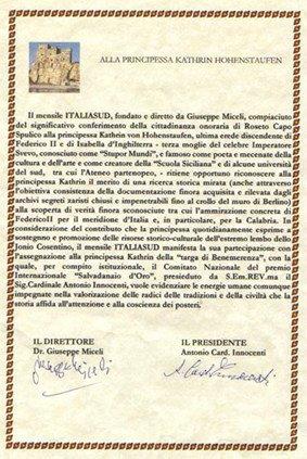 Charter  premio per gli studi sindonici della principessa  Hohenstaufen