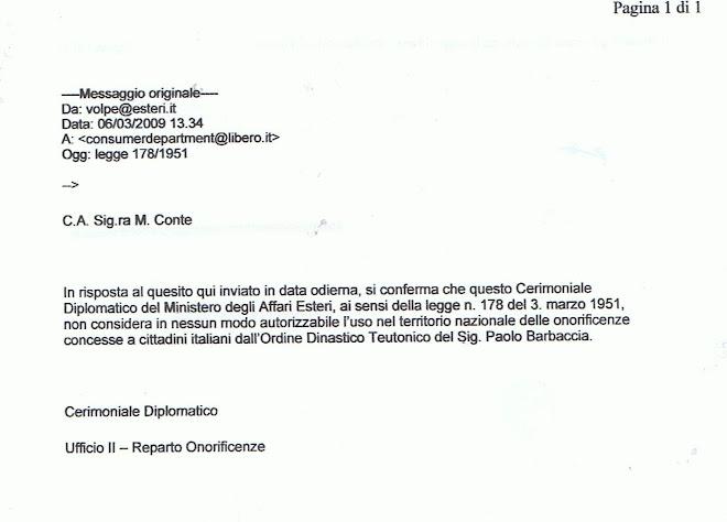 Il Ministero Esteri dichiara illegittimi Ordini Equestri Barbaccia