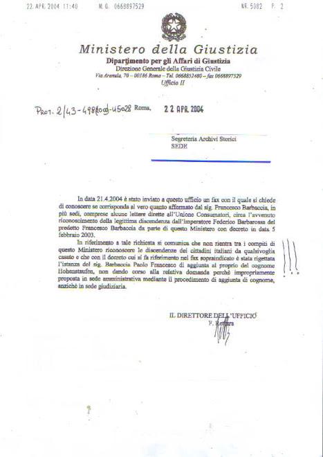 Il Ministero della Giustizia smentisce Barbaccia