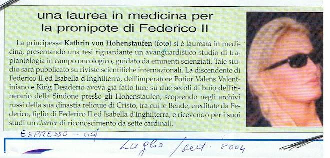 30 Luglio 2004 :Laurea in medicina con 110 e lode per Kathrin von Hohenstaufen
