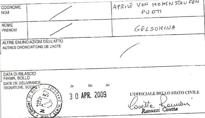 estratto anamnestico Aprile von Hohenstaufen Puoti Gelsomina Yasmin