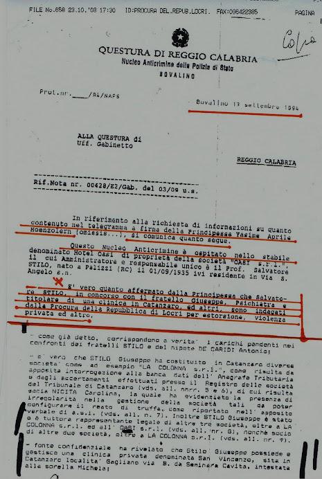 Rapporto su clan colluso con sequestratori San Luca