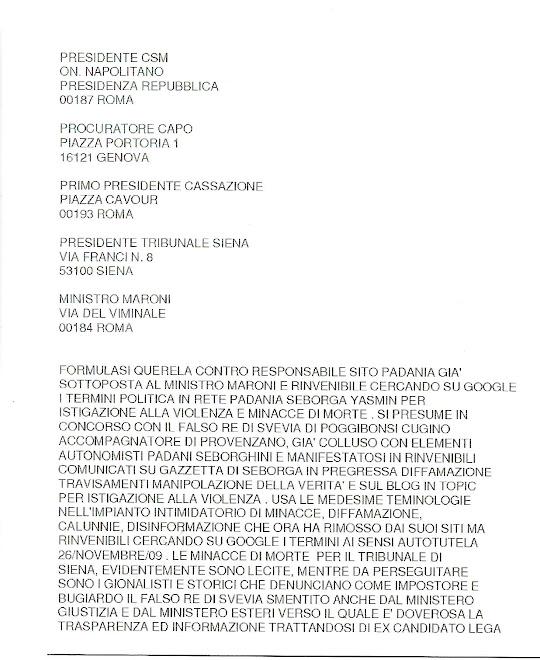 Denunciato al CSM Tribunale Siena
