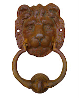 5440 Lion Door Knocker Natural Rust - From the Forge