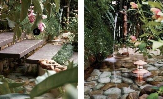 fontes de agua para decoracao de interiores : fontes de agua para decoracao de interiores: um rio rasinho com o fundo forrado de pedras depois de cair da bica de