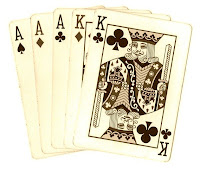 poker hand playing cards full house sepia tone clipart