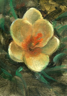 yellow flower ACEO painting