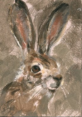 rabbit painting aceo