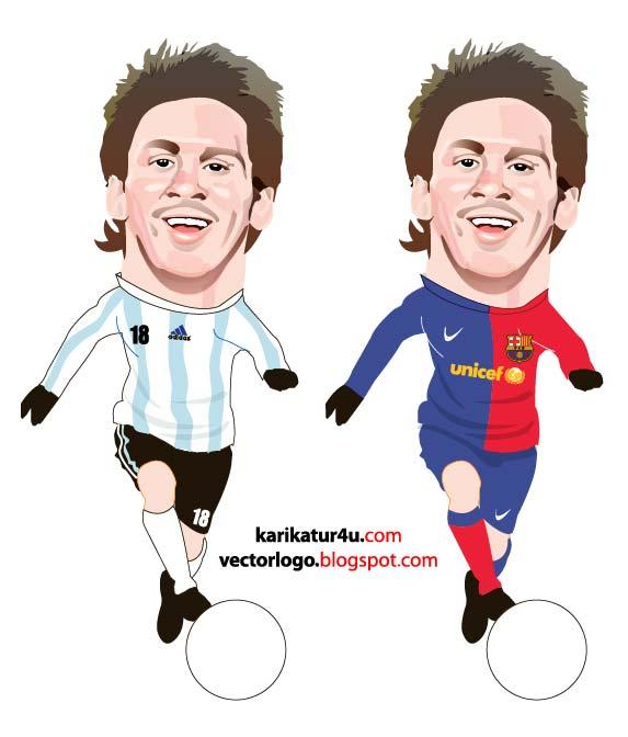 Lionel Messi ve Cristiano Ronaldo Karikatür Vektör