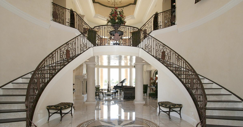 Beautiful double curved staircases in florida luxury for Double curved staircase