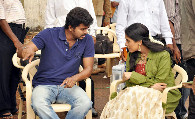 Vijay and Asin in Kavalkaran shooting