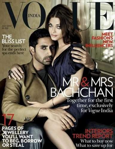 Aishwarya on Abhishek's lap on Vogue July Coverpage
