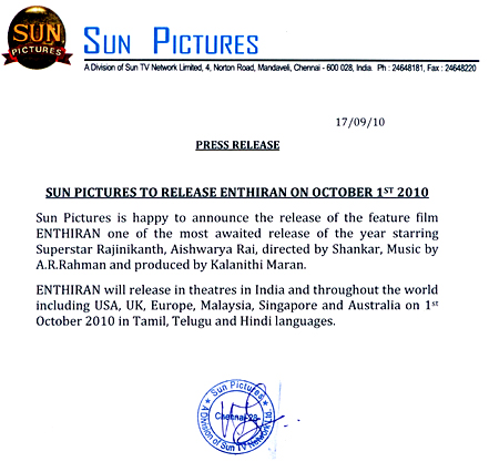 Endhiran official release date October 1st
