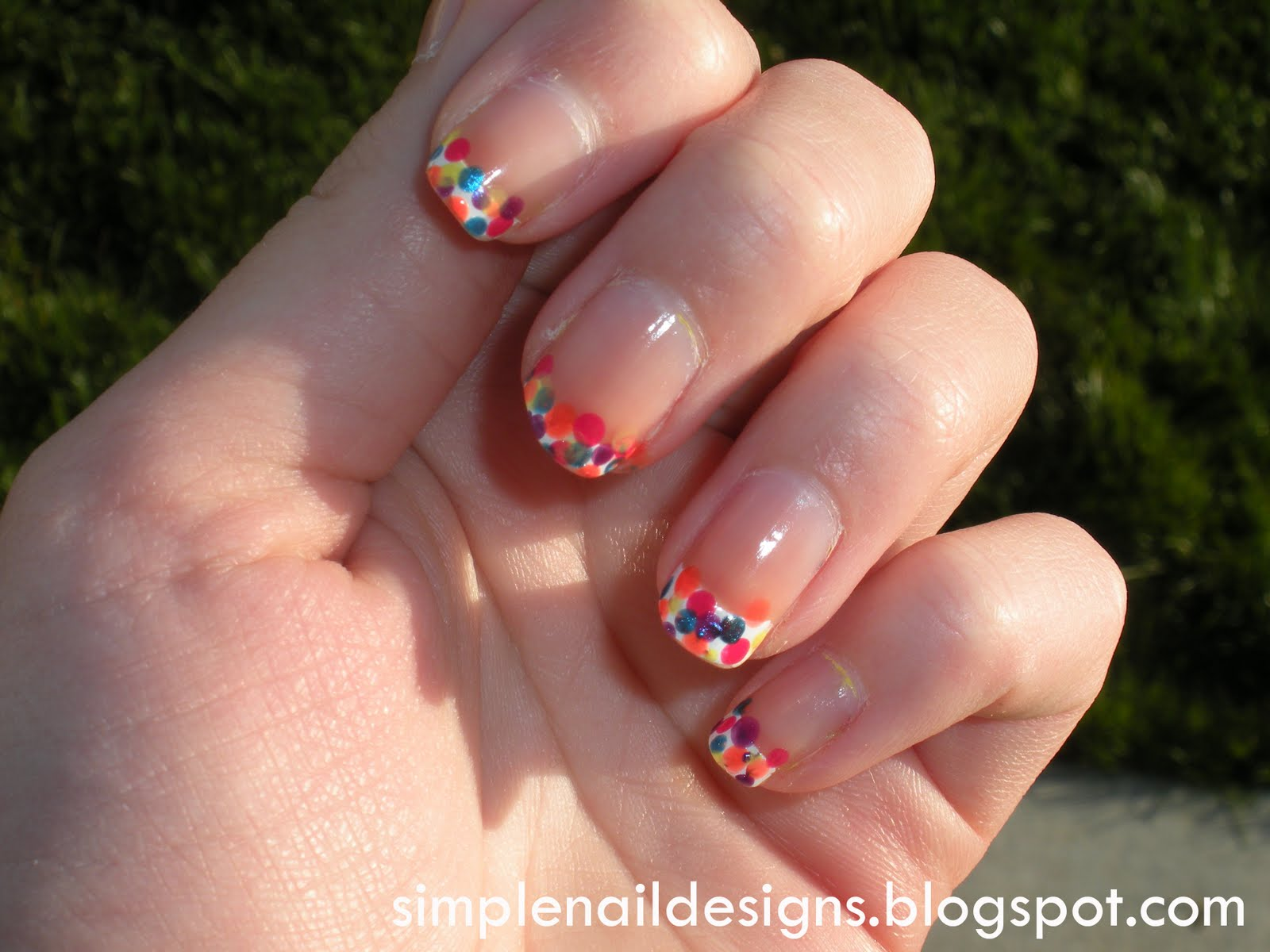 Best of Nail Art: Spring/Easter Inpsired Polka Dot French Nail Design