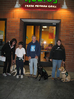 Poppy, Tara and Tulani outside Rubio's with their raisers