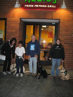 Poppy, Tara and Tulani outside Rubio's with their raisers