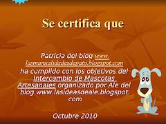 Mi certificado por el inter de mascotas artesanales organizado por Ale
