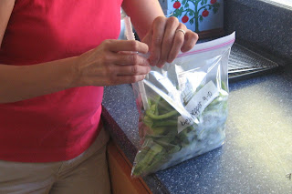 ziplock bag of bell peppers on counter