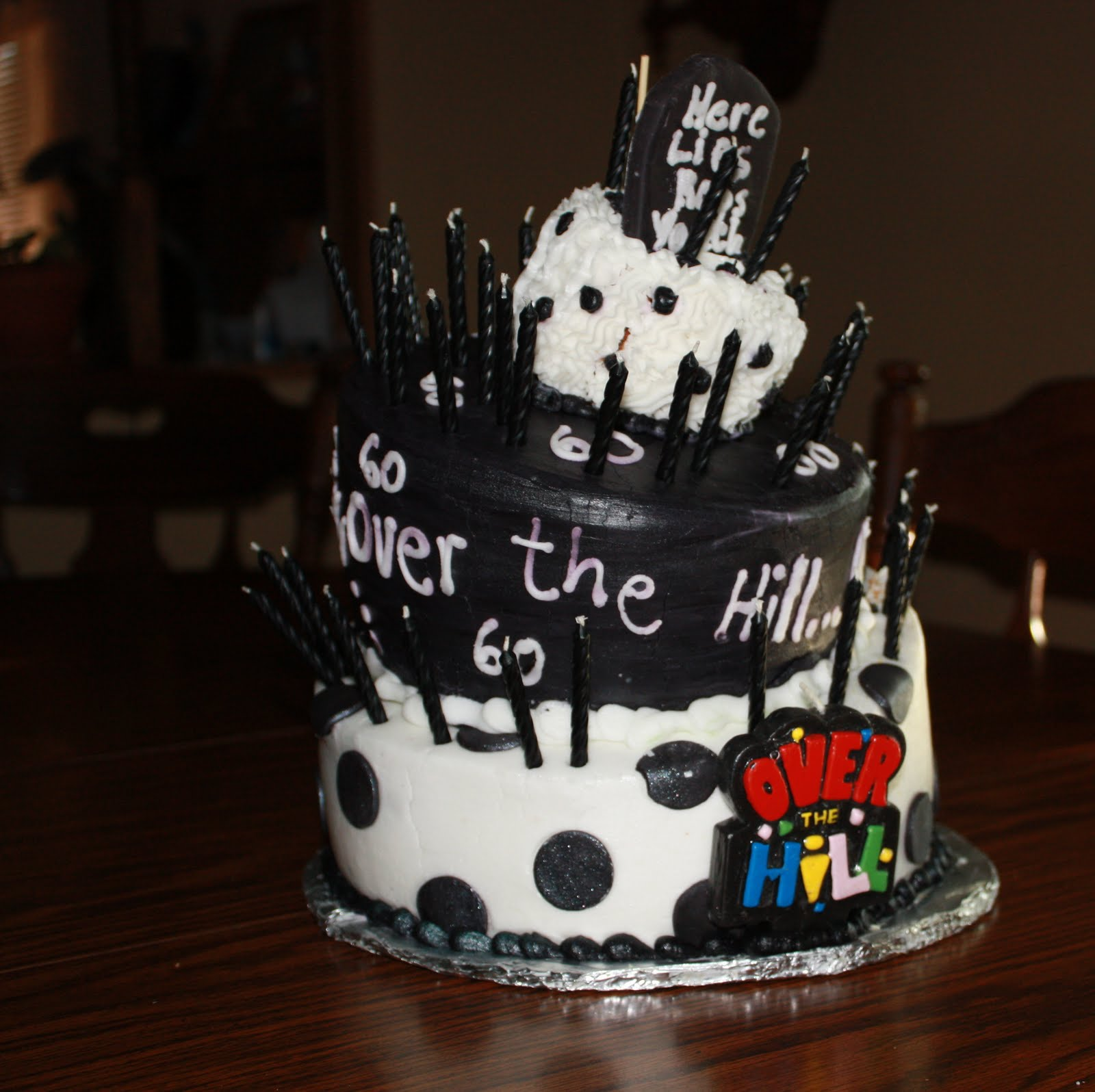 50th Birthday Clip Art Over The Hill Hill cake with black icing and