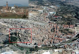 Imágen aérea de Autol con la zona de los Picuezos señalada