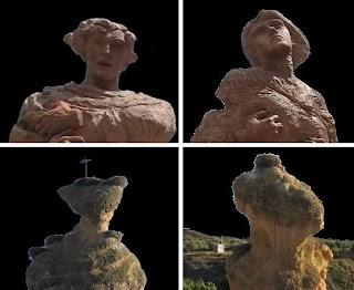 Comparativa de las cabezas de las estatuas de la Plaza de España con los Picuezos reales