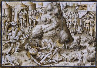 Miniatura de un manuscrito de la Biblioteca Real de Bruselas (Roldán hiere a Farragut)