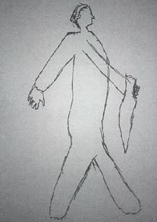 Dibujo del hombre con cuchillo hecho por los testigos