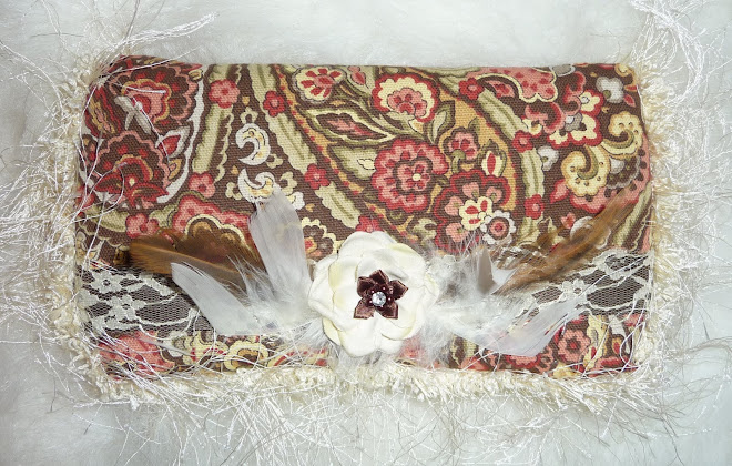 PReTTy PaiSLeY w/ cReaM & BRowN FeaTHeRs GiRL's WiPe CaSe