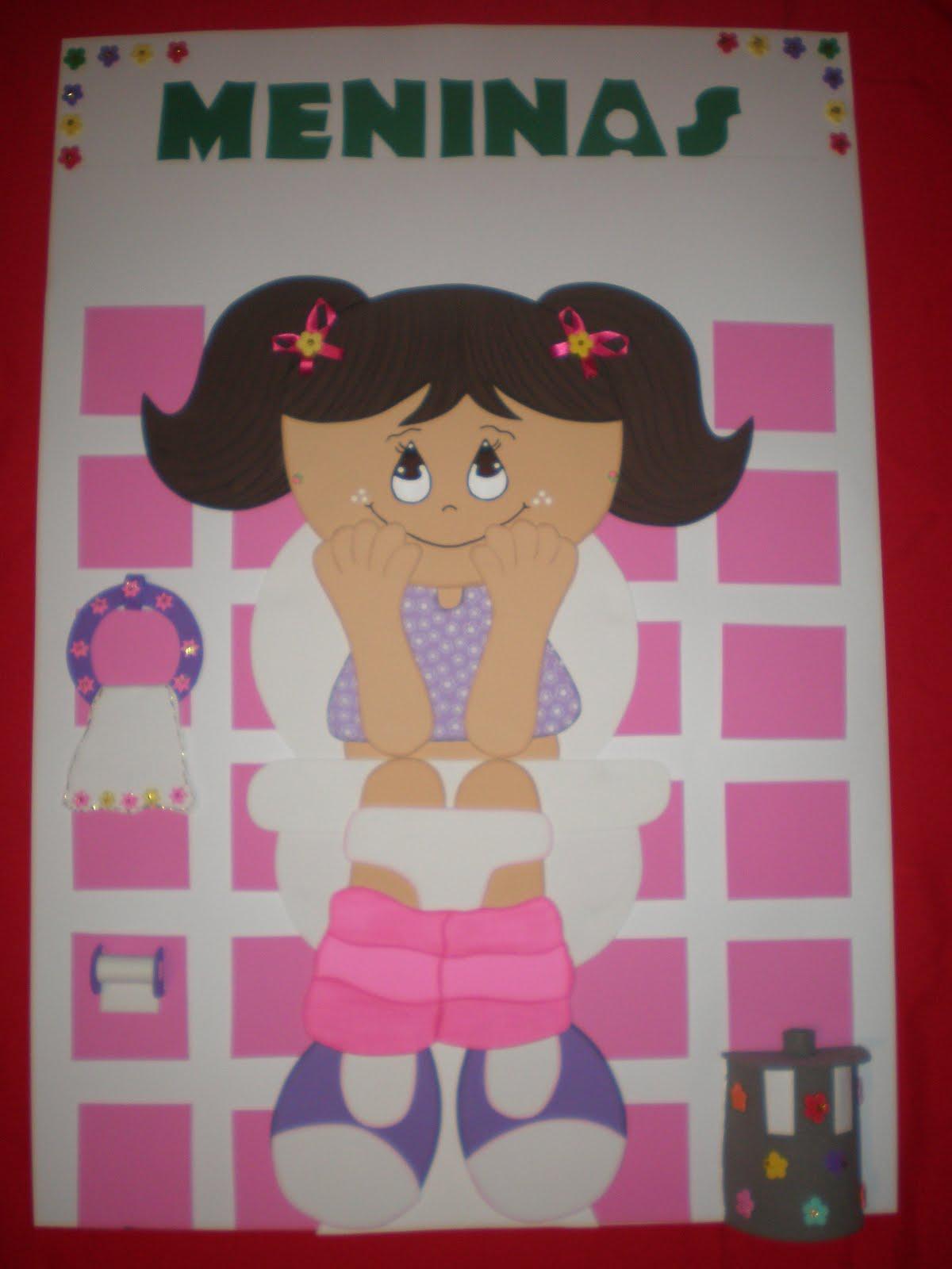 VRPC Artesanatos Cartazes confeccionados com muito carinho para decoração da -> Cartazes Banheiro Feminino