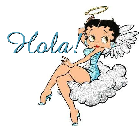 Sexy Betty Boop angel with a halo, sitting on a cloud with her legs crossed