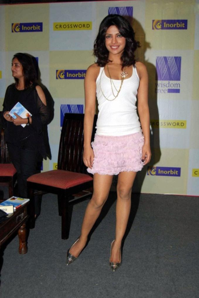 Priyanka Chopra Curvy Legs in Cute Pink Short Skirt as BarBie Girl