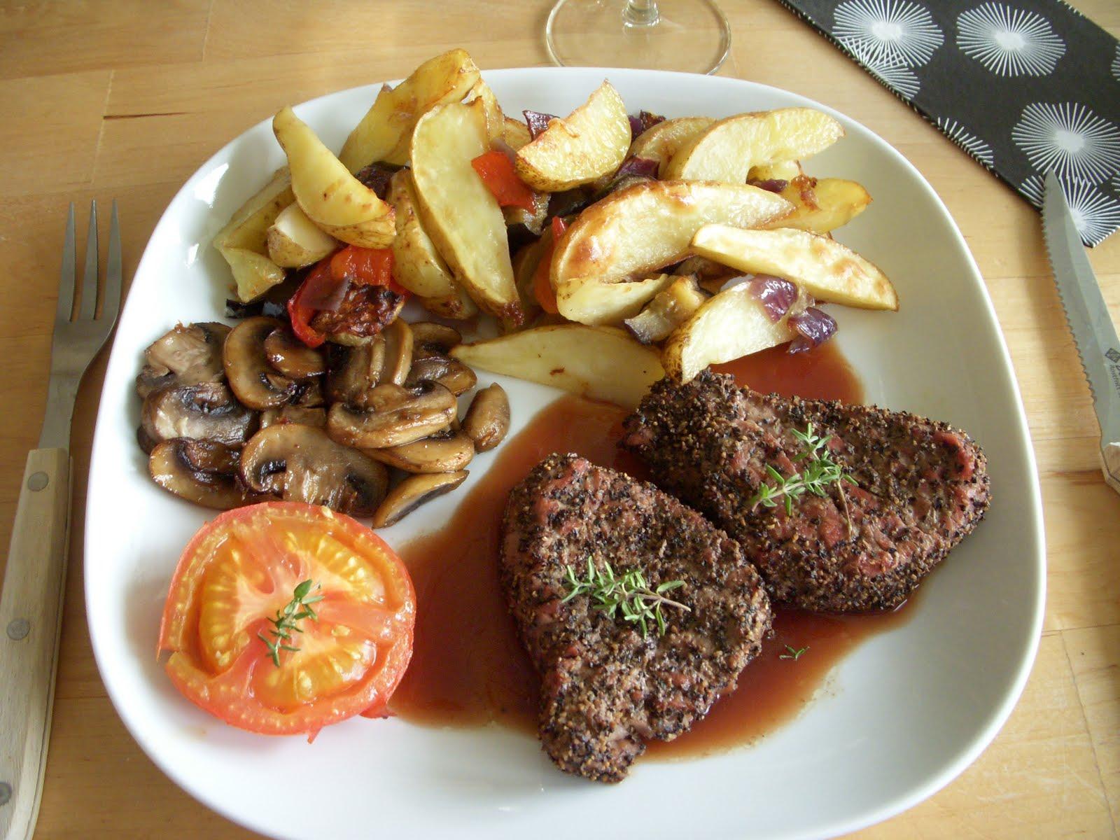 Filet Mignon With Roasted Potato Wedges Recipe — Dishmaps