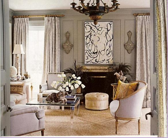 Silver Gold Grey and Tan Living Room