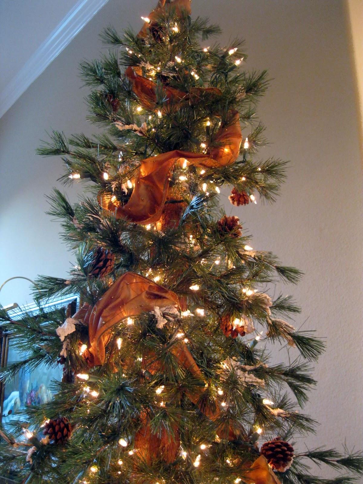Decorating Christmas Tree With Ribbon Garland Photograph R